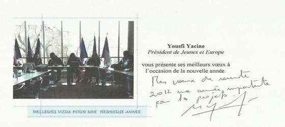 Voeux de Yaçine Yousfi : Président de l'association «Jeunes et Europe»